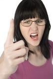 Mulher nova em gritar dos vidros Imagens de Stock