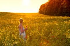 Mulher nova em um campo do rapeseed fotografia de stock royalty free