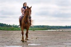 Mulher nova em um cavalo foto de stock royalty free