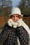 Mulher nova em um dia invernal Foto de Stock Royalty Free
