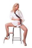 Mulher nova em uma camisa de homem branco fotografia de stock