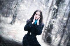 Mulher nova em uma tempestade de neve foto de stock