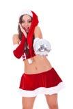 Mulher nova espantada de Santa Fotografia de Stock