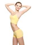 Mulher nova feliz com corpo magro bonito Imagem de Stock Royalty Free