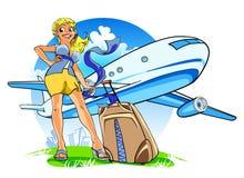 Mulher nova feliz com uma mala de viagem ilustração do vetor