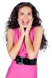 Mulher nova feliz isolada Imagens de Stock Royalty Free