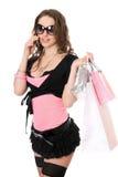 Mulher nova feliz que fala no telefone Fotos de Stock