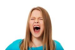 Mulher nova gritando Imagem de Stock Royalty Free