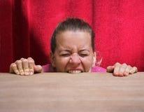 Mulher nova impossível e irritada fotografia de stock