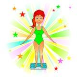 Mulher nova magro e escalas de banho Fotos de Stock Royalty Free
