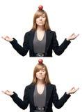 A mulher nova meditates no tempo de funcionamento Imagem de Stock