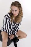 Mulher nova na camisa listrada preto e branco Imagem de Stock Royalty Free