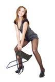 Mulher nova nas meias rasgadas Foto de Stock Royalty Free