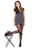Mulher nova nas meias rasgadas Imagens de Stock