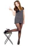 Mulher nova nas meias rasgadas Imagem de Stock