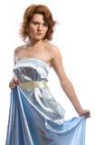 Mulher nova no azul Fotografia de Stock