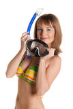 Mulher nova no biquini com máscara para o mergulho Imagem de Stock Royalty Free