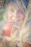 Mulher nova no campo de trigo Imagem de Stock