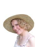Mulher nova no chapéu de palha Fotografia de Stock Royalty Free