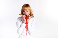 Mulher nova no dia do Valentim Fotografia de Stock