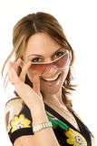 Mulher nova no glasse do sol Imagem de Stock Royalty Free
