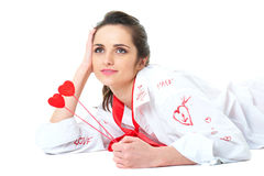Mulher nova no modo romântico, isolado no branco Fotos de Stock
