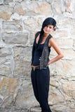 Mulher nova no preto Foto de Stock Royalty Free