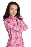 Mulher nova no revestimento cor-de-rosa. Imagem de Stock Royalty Free