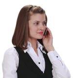 Mulher nova no telefone Imagem de Stock Royalty Free