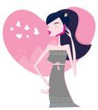 Mulher nova no telefone de pilha Imagens de Stock Royalty Free