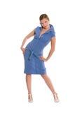 Mulher nova no vestido azul. Imagens de Stock Royalty Free