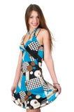 Mulher nova no vestido do verão fotografia de stock
