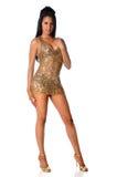Mulher nova no vestido dourado Fotos de Stock Royalty Free