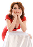 Mulher nova no vestido vermelho Imagem de Stock Royalty Free