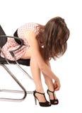 Mulher nova nos saltos elevados Imagens de Stock