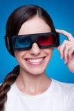 Mulher nova nos vidros 3d Imagens de Stock Royalty Free