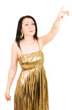 Mulher nova que aponta com mão Imagem de Stock Royalty Free