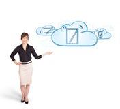 Mulher nova que apresenta dispositivos modernos nas nuvens Imagem de Stock Royalty Free