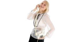 mulher nova que chama pelo telefone foto de stock royalty free