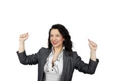 Mulher nova que comemora uma vitória do negócio Imagem de Stock