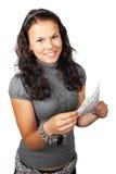 Mulher nova que conta o dinheiro Fotos de Stock Royalty Free