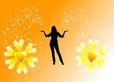 Mulher nova que cria flores ilustração royalty free
