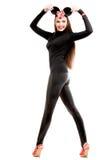Mulher nova que desgasta o traje 'sexy' do rato Imagens de Stock Royalty Free