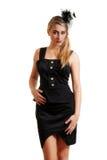 Mulher nova que desgasta o vestido preto com véu imagens de stock royalty free