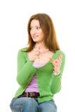 Mulher nova que gesticulating Imagem de Stock Royalty Free