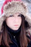 Mulher nova que olha de sobrancelhas franzidas Imagem de Stock Royalty Free