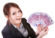 Mulher nova que prende o euro- dinheiro. imagens de stock