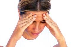 Mulher nova que sofre da dor de cabeça Imagens de Stock Royalty Free