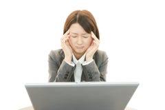 Mulher nova que tem uma dor de cabeça Fotografia de Stock