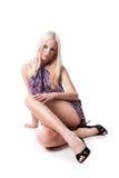 Mulher nova quente no vestido curto Imagens de Stock